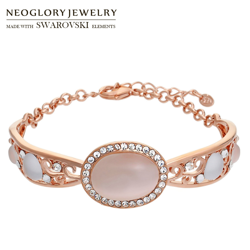 Neoglory Austria Rhinestone & Opal Bangle Rose Gold Color Exquisite Oval Design Vintage Style Women Palace Bracelet Sale Gift