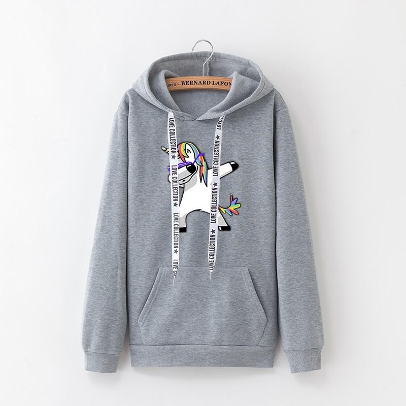 2019 Winter New Harajuku Women Hoodies Pop Print Unicorn Casual Loose Sweatshirt Women's Coat Jumper Hooded Warm Plus Velvet Top