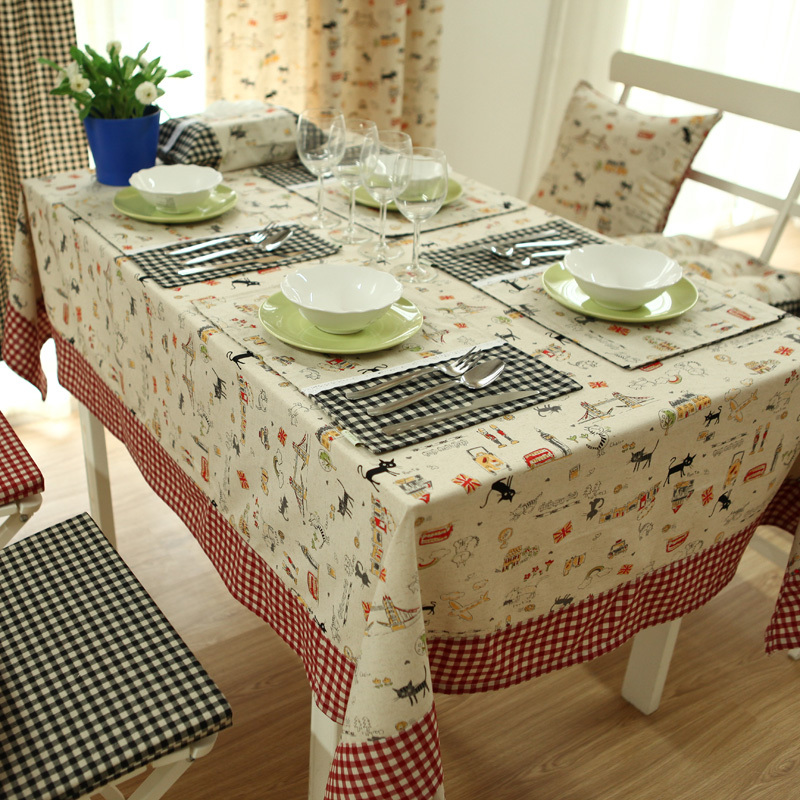 Japan Style Zakka table cloth table cover cartoon print plaid pastoral patchwork table decoration accessories covers for table-in Tablecloths from Home ... & Japan Style Zakka table cloth table cover cartoon print plaid ...
