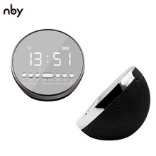 NBY Alarm Clock Bluetooth Speaker 5W Subwoofer Portable Wireless Round Speaker with Mic Mini Speaker with LED Mirror(China)
