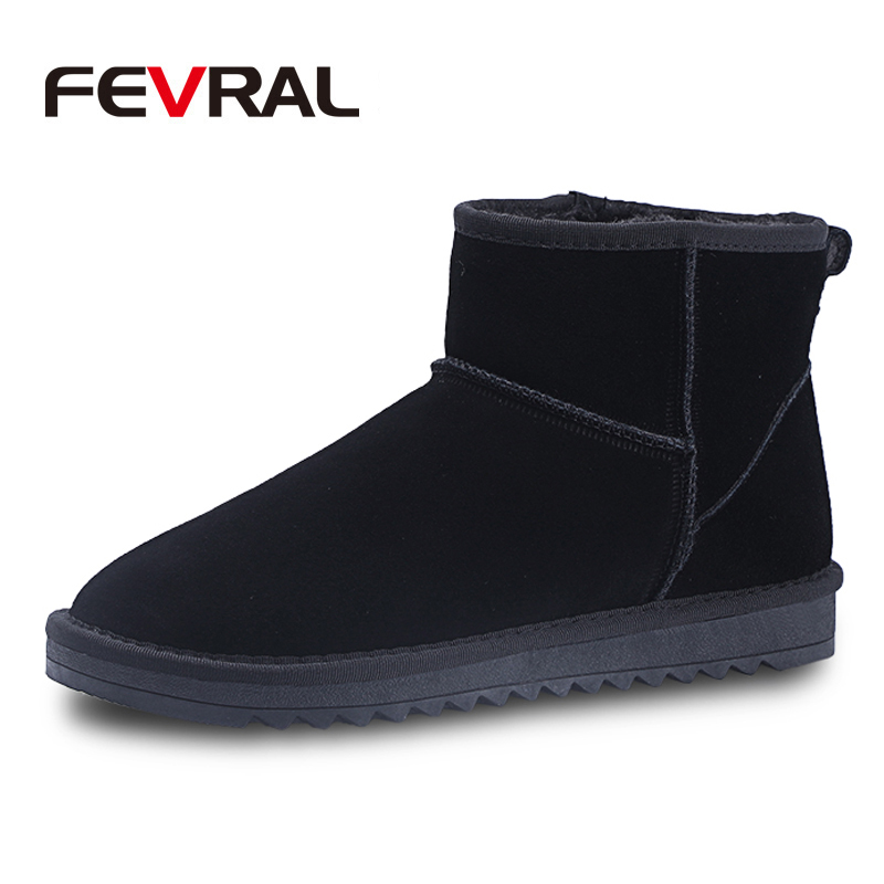 FEVRAL Brand Hot Sale Classic Waterproof Plush Boots Cow Suede Plus Fur Flat Snow Boots Warm Shoes For Women Casual Shoes image