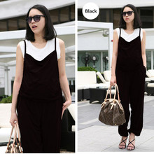 Summer Pregnancy Clothes Adjustable Shoulder Strap Elastic Waist Suspender Trousers Maternity Clothing Black Lady Pants Overalls