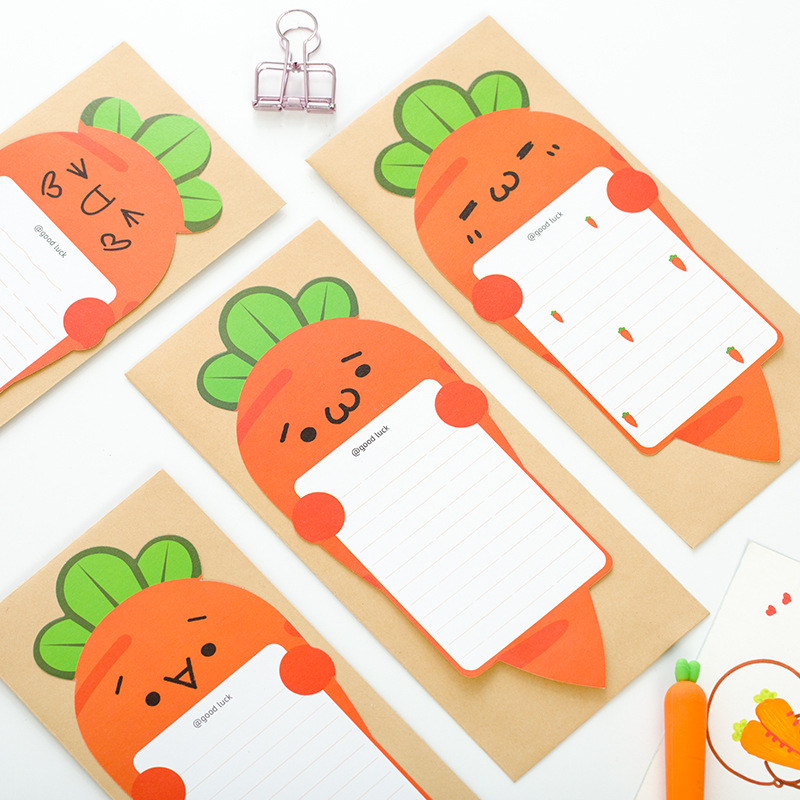 MQStyle 6Pcs/Pack Envelope Letter Paper Set Cute Cartoon Carrot Stationery Student School Office Gift M0256