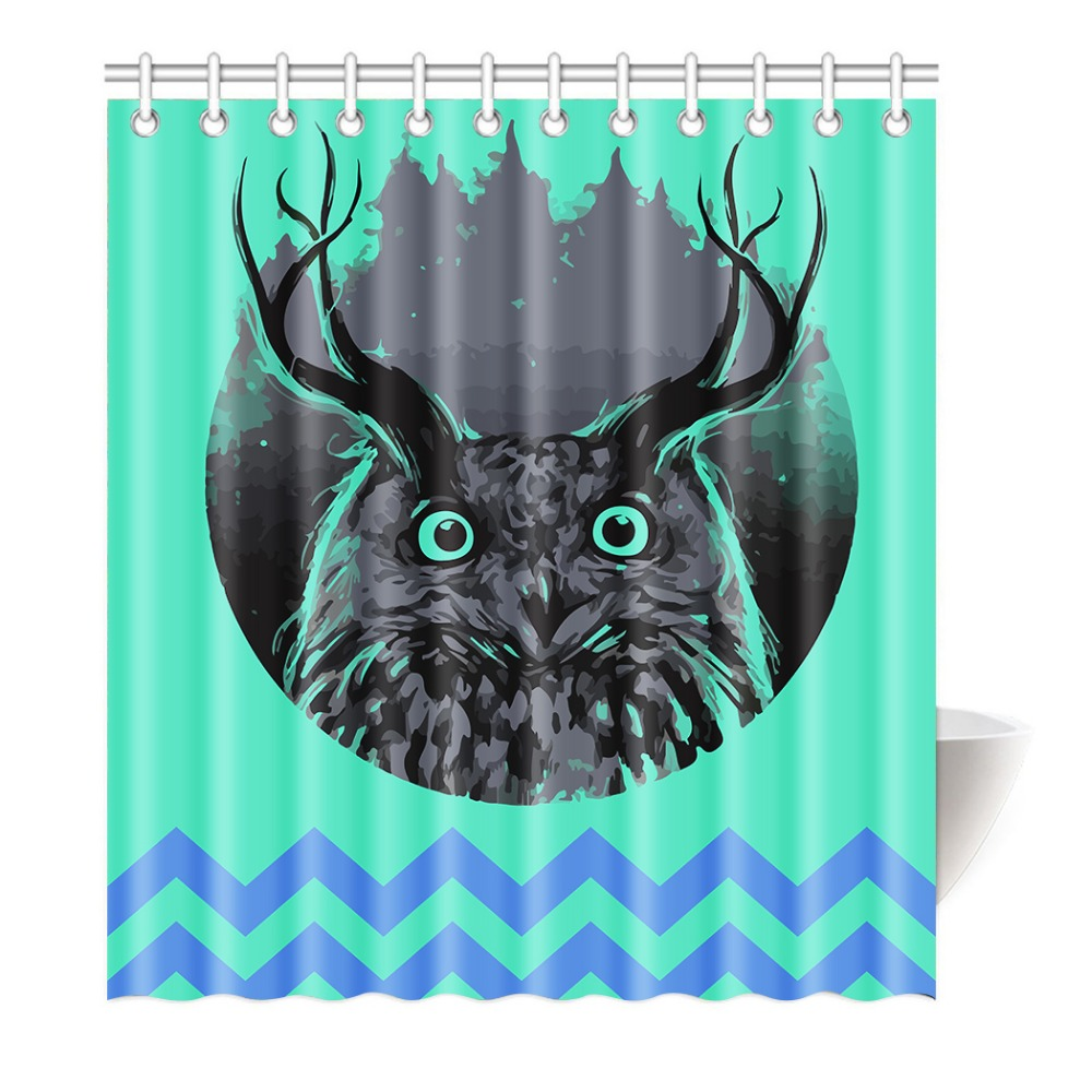 Funny Longhorn Owl Black And White Shower Curtain Printing Waterproof Mildewproof Polyester Fabric Bath Bathroom In Curtains From Home