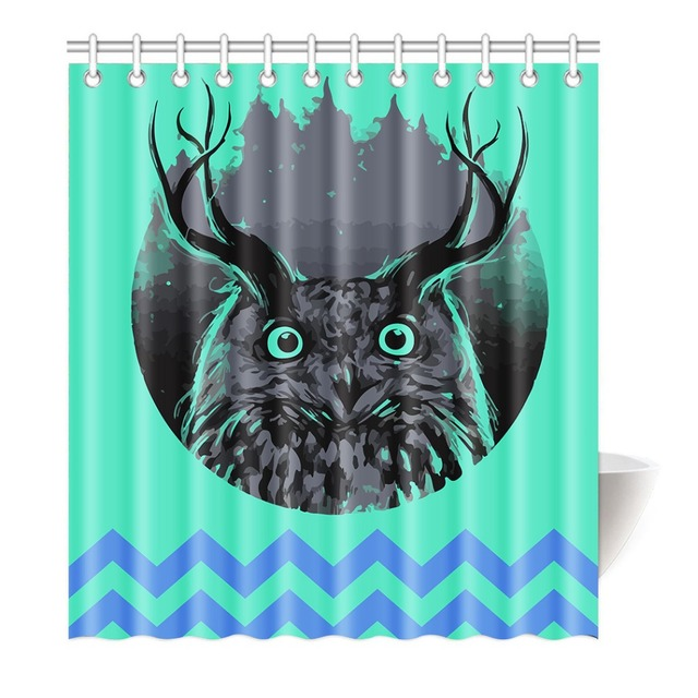 Funny Longhorn Owl Black And White Shower Curtain Printing Waterproof Mildewproof Polyester Fabric Bath Bathroom