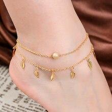 00038eae431c SHUANGR caliente hoja forma tobillo pulsera moda oro Color titanio cadena  mujer chica amante Barefoot Anklet pie cadena joyería