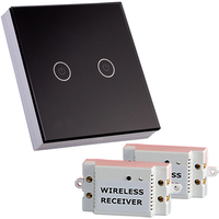 New Black White Crystal Glass Switch Panel 12V Touch Switch Interrupter 2 Gang 2 Way Remote