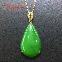 18 k oro giallo con 100% naturale giada ciondolo Spinaci è verde Semplice e facile Fine jewelry