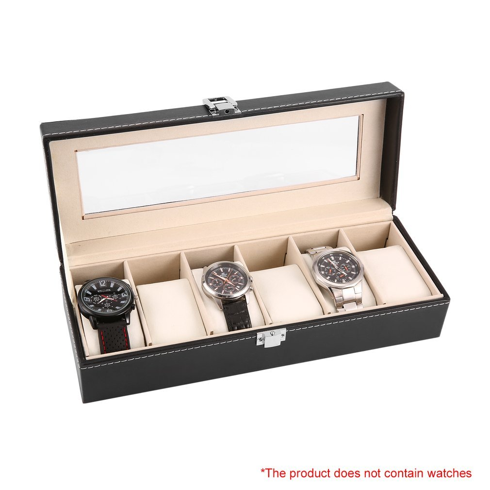 6 Grid Luxury Refinement Slots Leather Watches Box Case Jewelry Display Storage Holder Packaging Organizer Jewelry For Men Gift