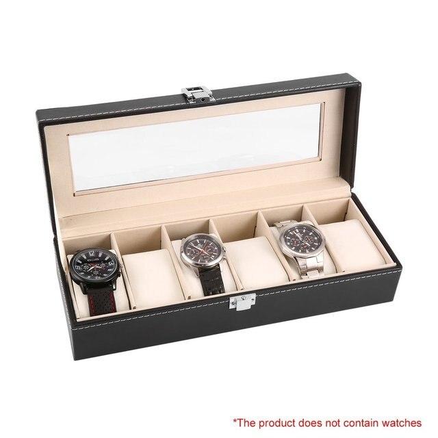 6 Grid Luxury Refinement Slots Leather Watches Box Case Jewelry Display Storage