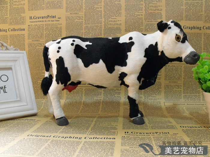 simulation cow toy model polyethylene& fur large 30x12x20cm dairy cow handicraft, prop,home Decoration xmas gift b3532
