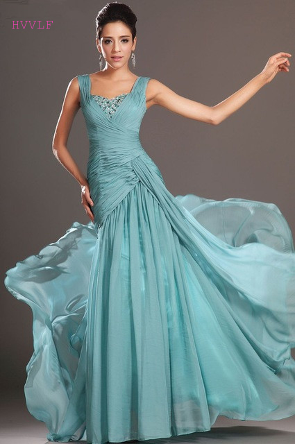 Blue   Evening     Dresses   2019 Mermaid V-neck Chiffon Beaded Backless Plus Size Long   Evening   Gown Prom   Dresses   Robe De Soiree