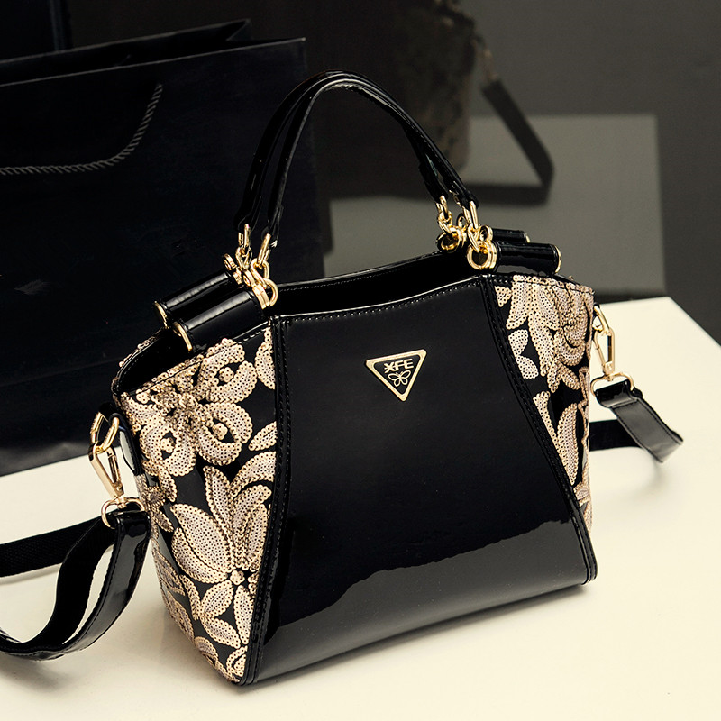 Luxury handbag women bag designer women leather handbag flower sequin embroidery patent leather shoulder bags famous brands tote