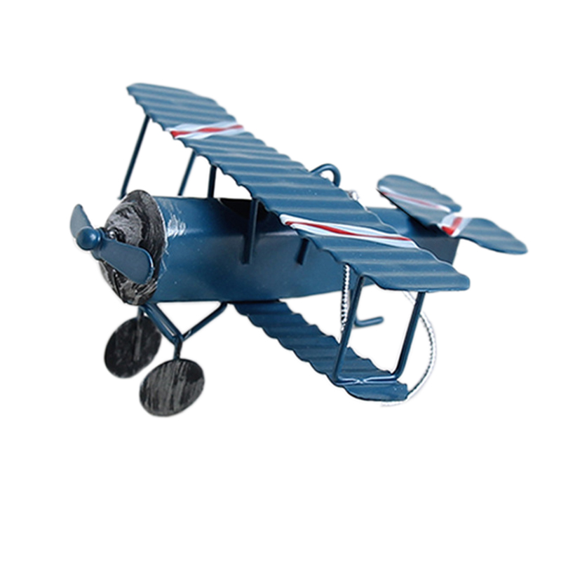 Retro Airplane Figurines Metal Plane Model Vintage Glider Airplane Home Decor Miniatures image