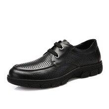 Men Dress Shoes Breathable Shoes Punch Hole Hollow Shoes Zapatillas Deportivas Hombre Mens Shoes Genuine Leather