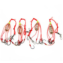 MrY 4Pcs/Lot Explosion Fishing Hook Lure Bait Trap Feeder Cage Sharp with Stainless Steel Springs