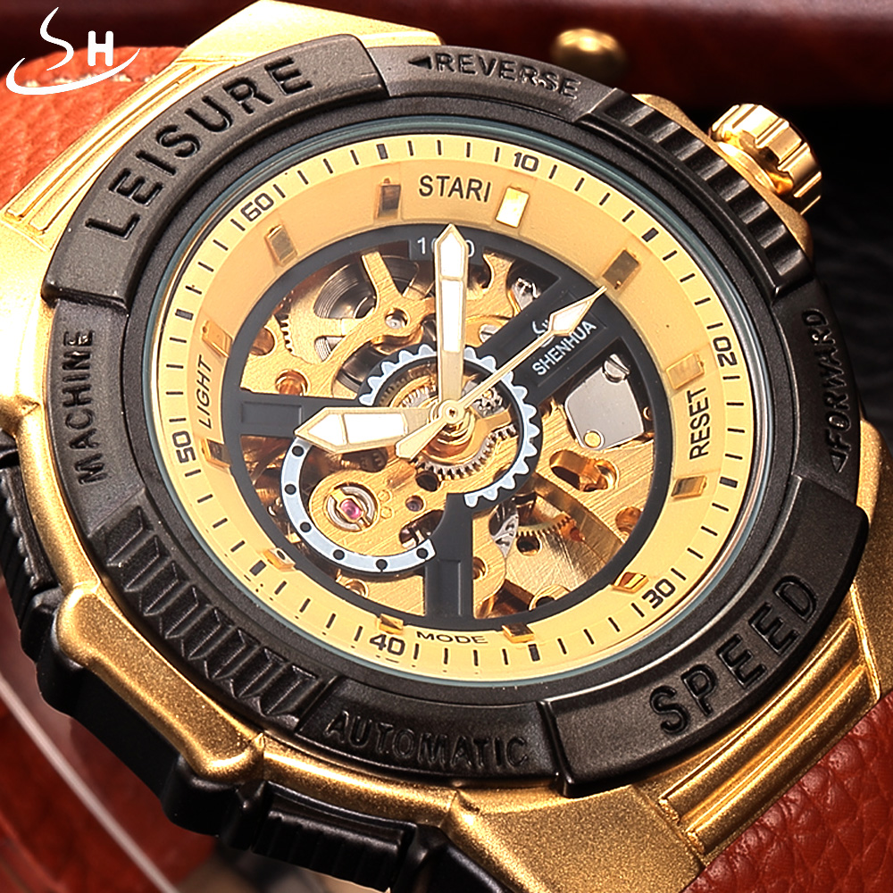 Automatic Mechanical Watch Men Skeleton Watch SHENHUA Luxury Brand Clock Leather Strap Sport Watch Military Sport Watches shenhua brand black dial skeleton mechanical watch stainless steel strap male fashion clock automatic self wind wrist watches