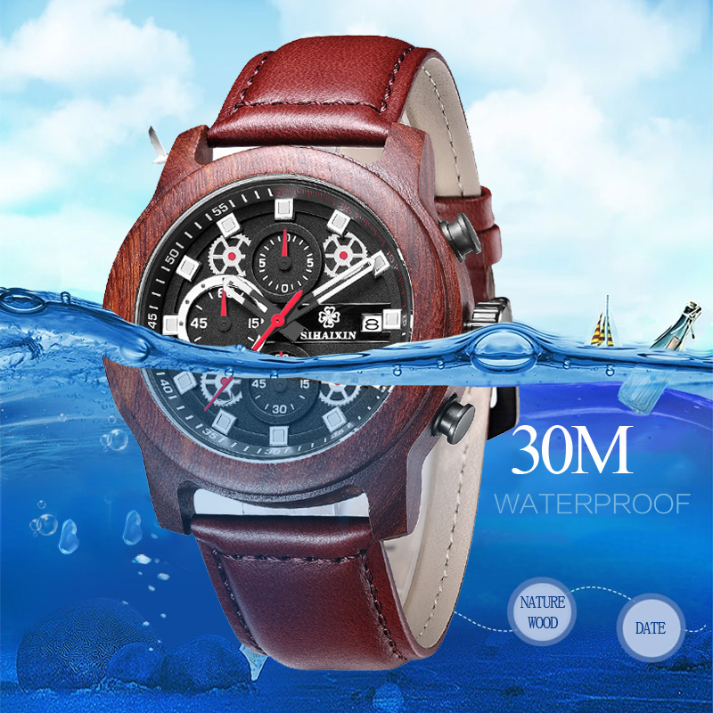 SIHAIXIN orologo Uomo cuero relojes de madera para hombre marca superior de lujo moda impermeable ejército militar deporte fecha hombre reloj # A regalo - 2