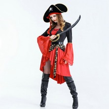 Free shipping Women Pirate dress 2018 New Halloween Costume Suit adult Cosplay dance party uniform