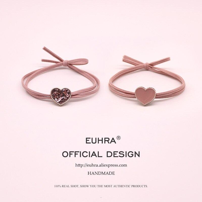 EUHRA 7 Kinds Sequins Heart Elastic Hair Bands Pink Emoji Bear Star High Elasticity Women Girls Hair Band Children Rubber Band