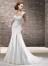11-28 Sexy V-neckline High Slit Lace With Beadeds Mermaid Wedding Dresses