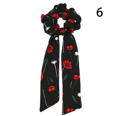 Модный летний шарф «конский хвост», эластичная лента для волос для женщин, бантики для волос, резинки для волос, резинки для волос с цветочным принтом, ленты для волос - Цвет: 006