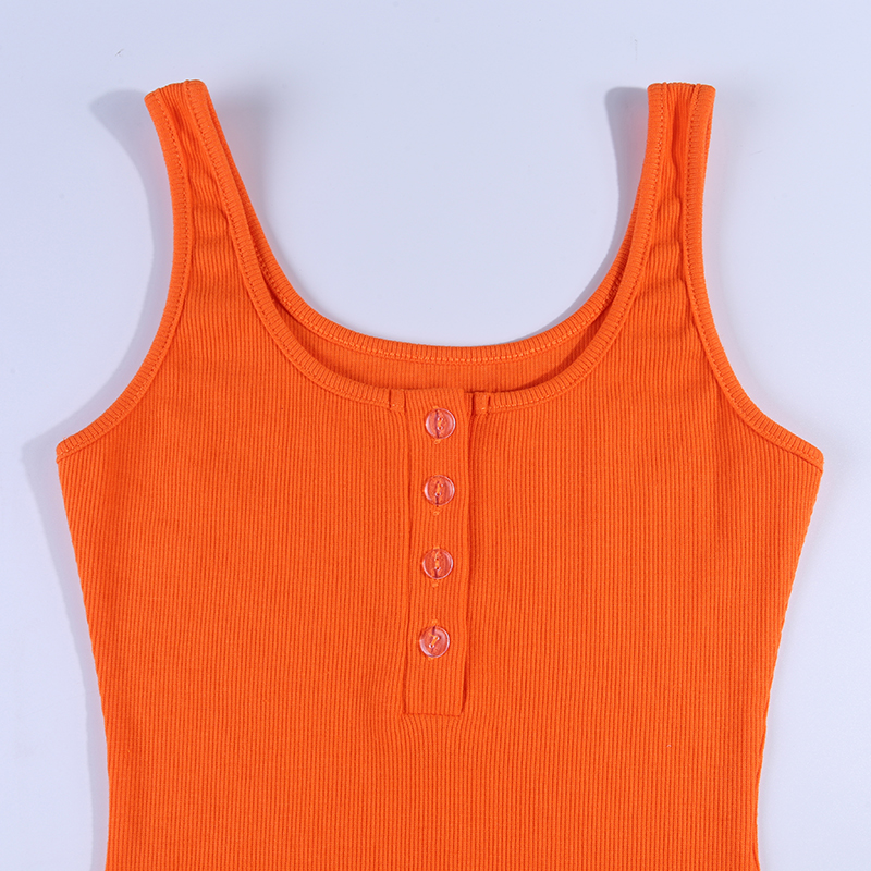 V-neck Knitted Elastic Sleeveless Button Knee-length Bodycon Dress