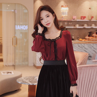 Dabuwawa Vintage Lace Shirt Women 2018 Autumn New Sweet Lace Bow Button Square Collar Puff Sleeve Solid Shirt Top
