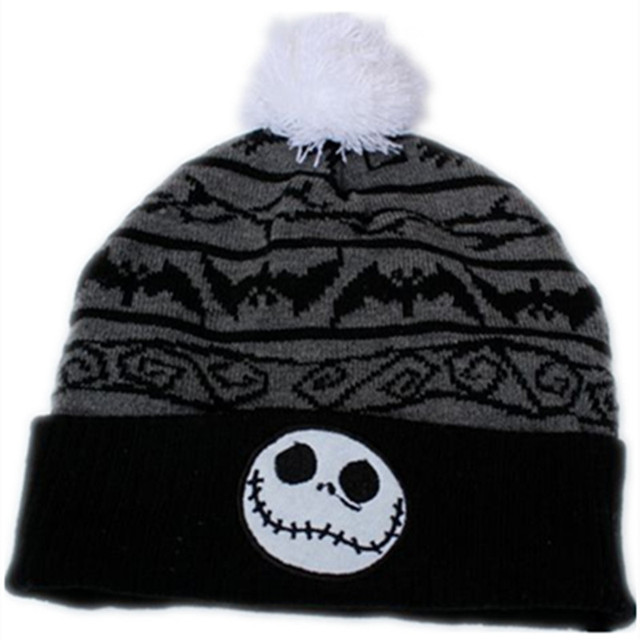 5af4d86c75990 the Night Before Christmas Jack Skellington Skull Cotton knitting Beanie  Cap Baby Kids Cartoon Winter Plush