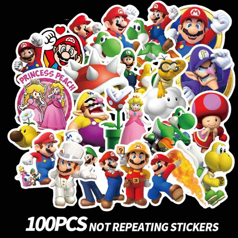 100pcs/set colorful super mario Sticker for  Laptop Skateboard cartoon super mario DIY Stickers children toy (free to Russia)