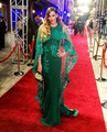 2017 Green Mermaid Lace Appliques Beaded Crystals Celebrity Dress for Red Carpet Arabic Dubai Cape Evening Prom Gown Custom Made