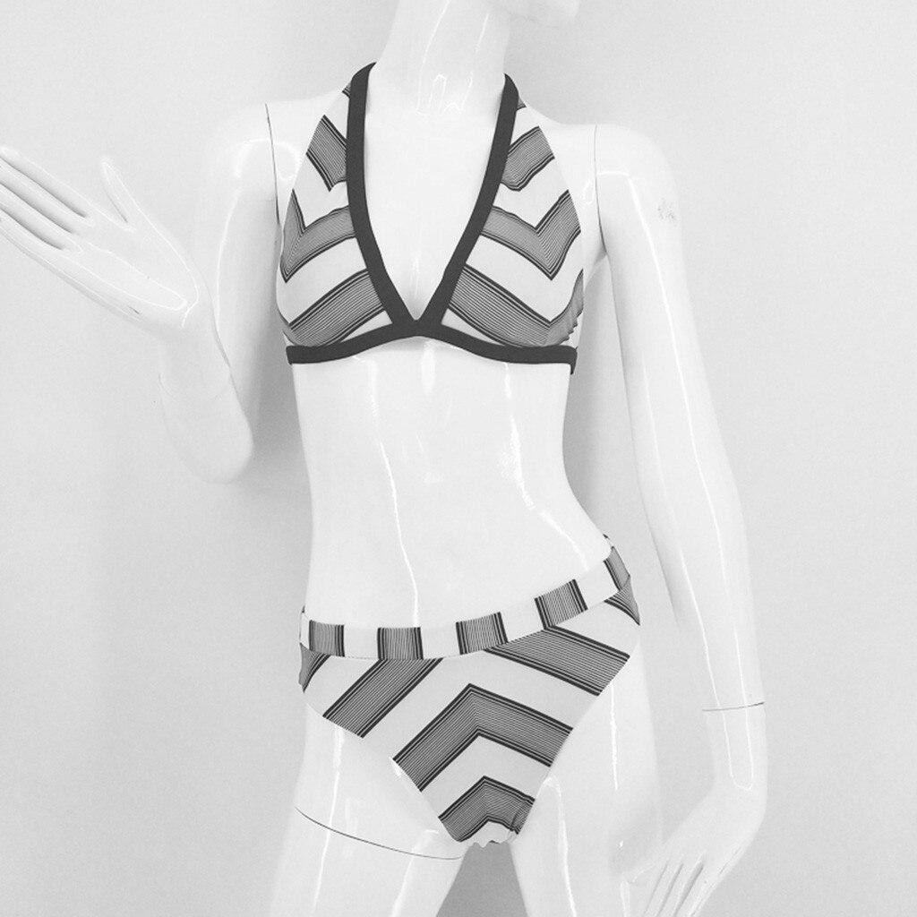 0f0c4c40a485 2019 MUQGEW traje de baño de moda de playa bikini sexi de mujer de vacaciones  a rayas con escote en V profundo traje de baño para mujer mayo en Bikinis  Set ...
