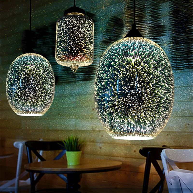 Simple Modern LED Pendant Lamp 3D Color Glass Hanging Light Fixtures Dining Room Pendant Lights Deco Home Lighting Lampara