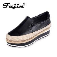 Фуцзинь бренд толстой подошве Muffin парусиновая обувь женская обувь на платформе Модные кружевные повседневные базовые модели литературные белые туфли на плоской подошве