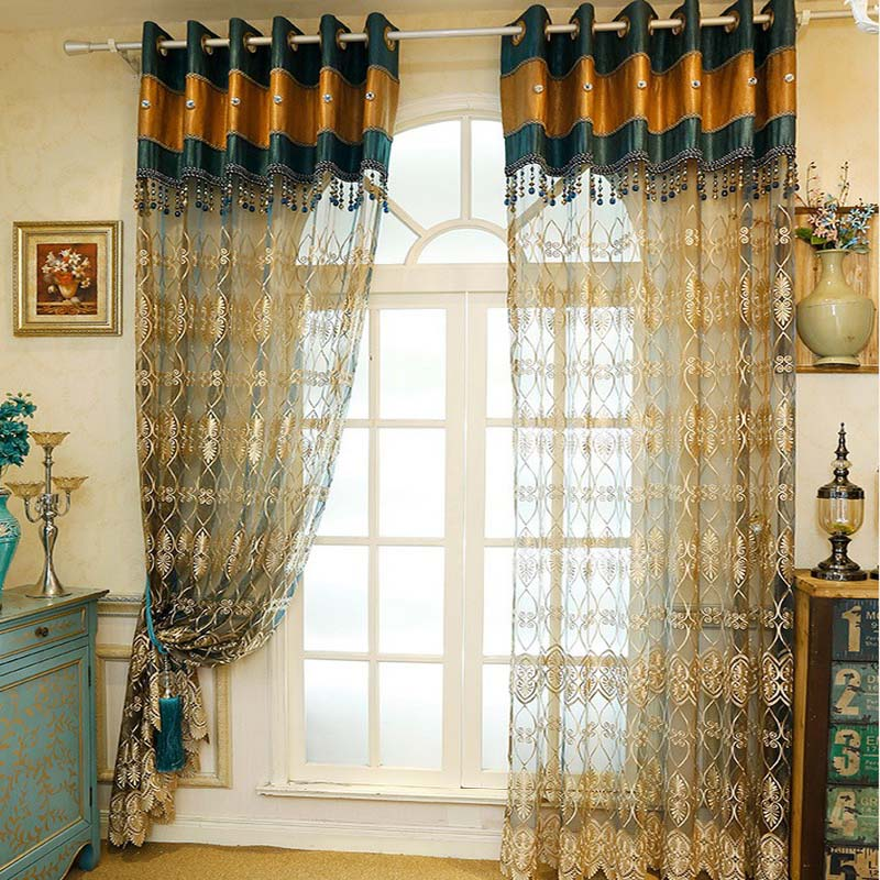 Europe Style Luxury Embroidered Tulle Curtains For Living Room Blue Gold Splice Voile Window