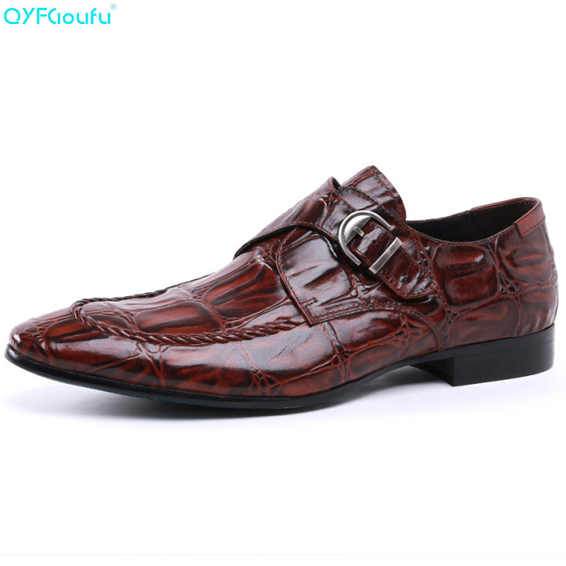 QYFCIOUFU Hasp Genuine Leather Mens Dress Shoes Pointy Formal Business Work Male Flats Mens Oxford Shoes Crocodile PatternQYFCIOUFU Hasp Genuine Leather Mens Dress Shoes Pointy Formal Business Work Male Flats Mens Oxford Shoes Crocodile Pattern