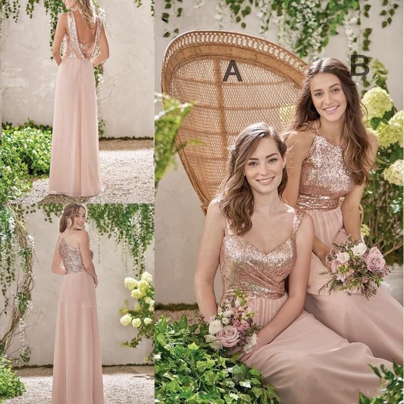 Rose Gold   Bridesmaid     Dresses   2019 Backless Sequins Chiffon Long Beach Wedding Gust   Dress   Rose Gold Sequin   Dress     Bridesmaid   Gown