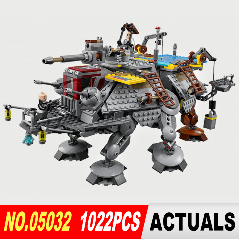ФОТО Lepin 05032 Star Wars series the Captain Rex's AT-TE model Building Blocks set Classic Compatible toys 75157 Gifts