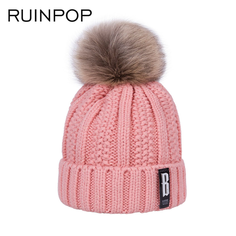 RUINPOP Winter Hat For Women Girl's Warm Hat Pom Poms Ball Warm Skullies Beanies Casual Gorros Thick Female Cap Knitted Hat (China)