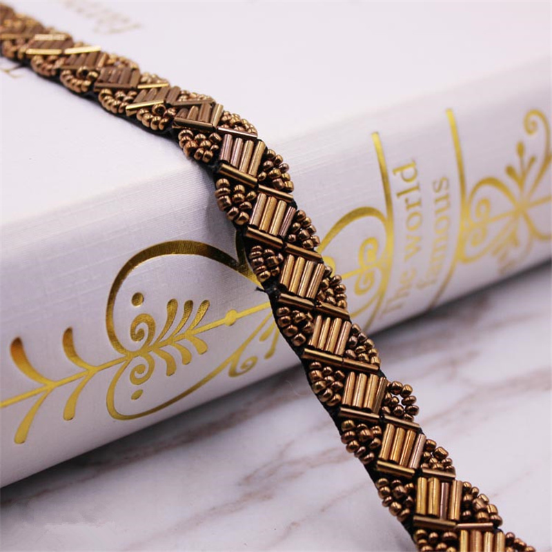 1Yard Pearl Beaded Lace Trim Mesh Lace Ribbon Fabric Clothes