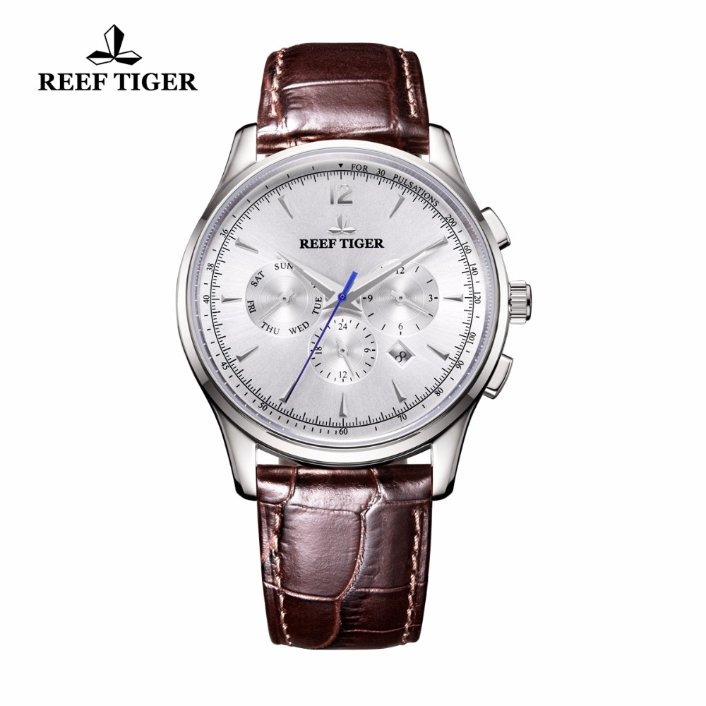 Reef Tiger/RT Top Brand Mechanical Watches Men Brown Leather Strap Steel Waterproof Watch Calendar RGA1654 reef tiger rt business men watch with date stainless steel leather strap waterproof mechanical watches rga823