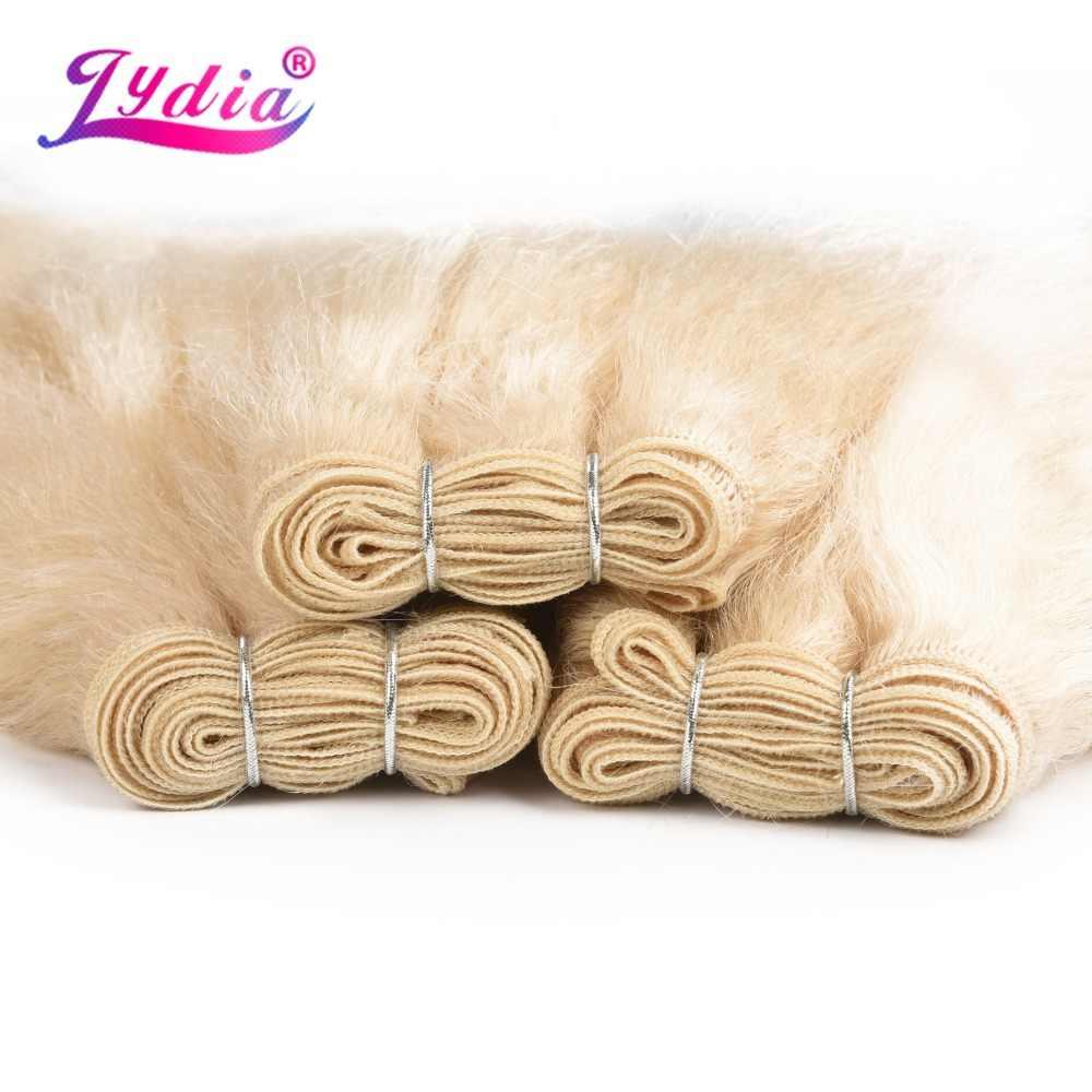 Лидия 1 шт./упак. Kinky прямая завивка 10-24 дюймов чистый цвет синтетические волны Наращивание волос для женщин блондинка 613 #