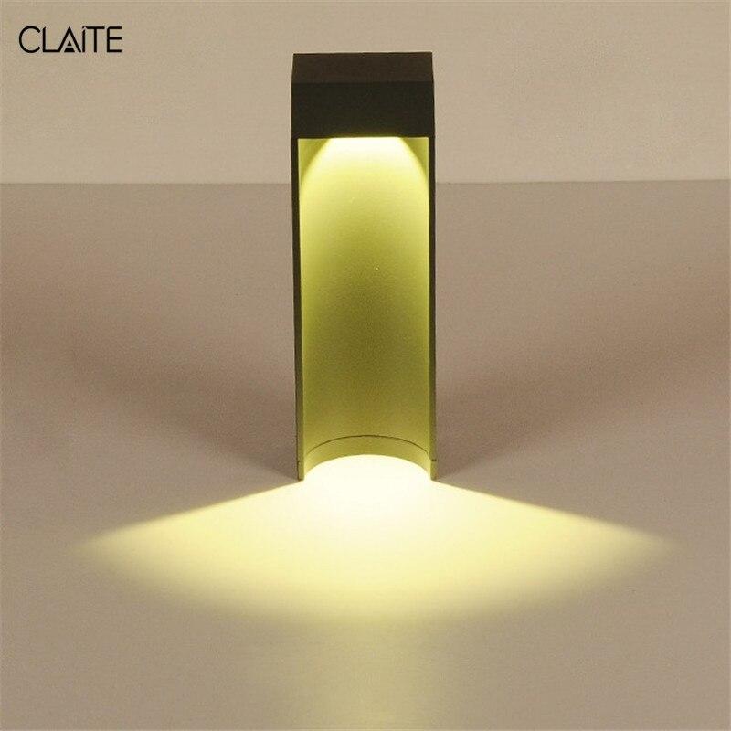 CLAITE светодиодный Газон лампа открытый Водонепроницаемый простой современный Алюминий пал свет для вилла сад дома парк Street AC 90- 260 В