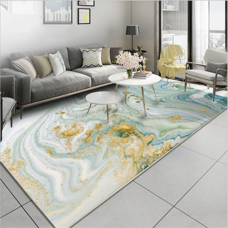 Aovoll Nordic Style Abstract Stone Pattern Light Green Gold Carpet Rugs And Carpets For Home Living Room Crystal Velvet Mat