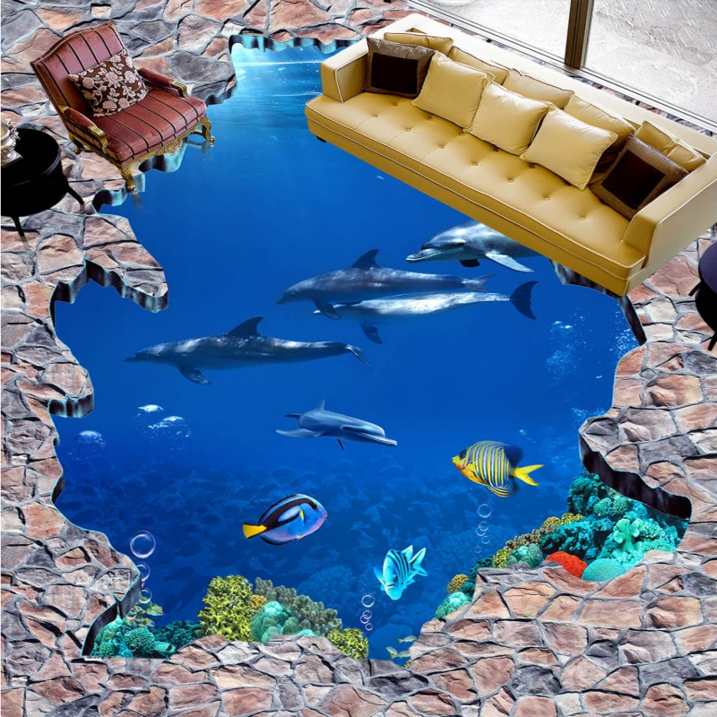 Free Shipping high quality floor wallpaper 3D Sea World Dolphin Ladder Floor Painting paste children room walkway floor mural free shipping penguin dolphin 3d sea world flooring painting kitchen lobby restaurant floor wallpaper mural