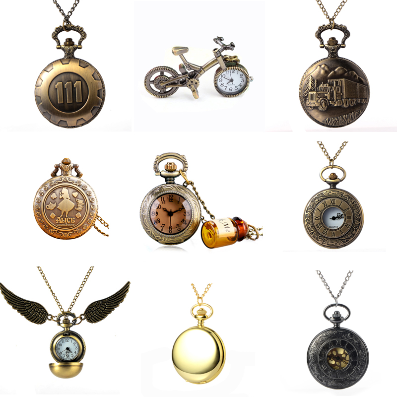 9 Style Vintage Steampunk Pocket Watch Luxury Antique Necklace Chain Quartz Pocket Fob Watches Men Women Clock Relogio Gift dad pocket fob watches chain luxury black