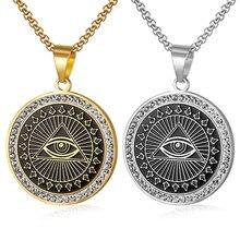 Hip Hop Mens Freemason Pendant Necklace Iced Out Rhinestone Illuminati All-seeing Eye Coins Round Charming