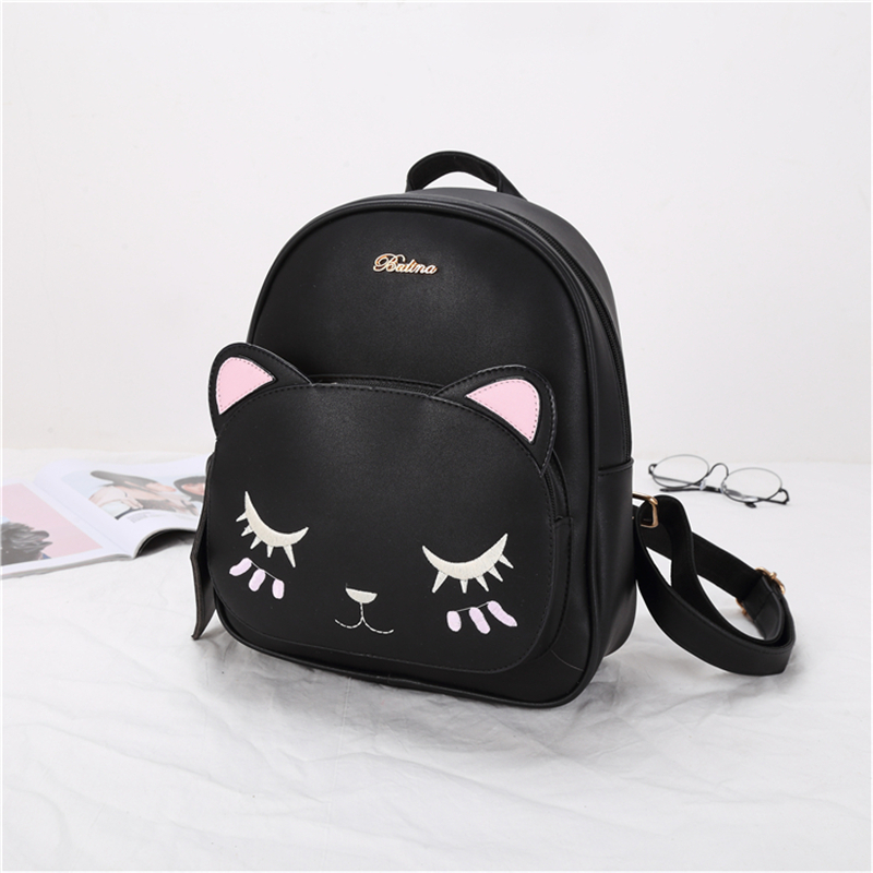 21club brand women black cat rucksack cute shoulder composite bag hotsale lady purse shopping bags preppy style student packpack 2