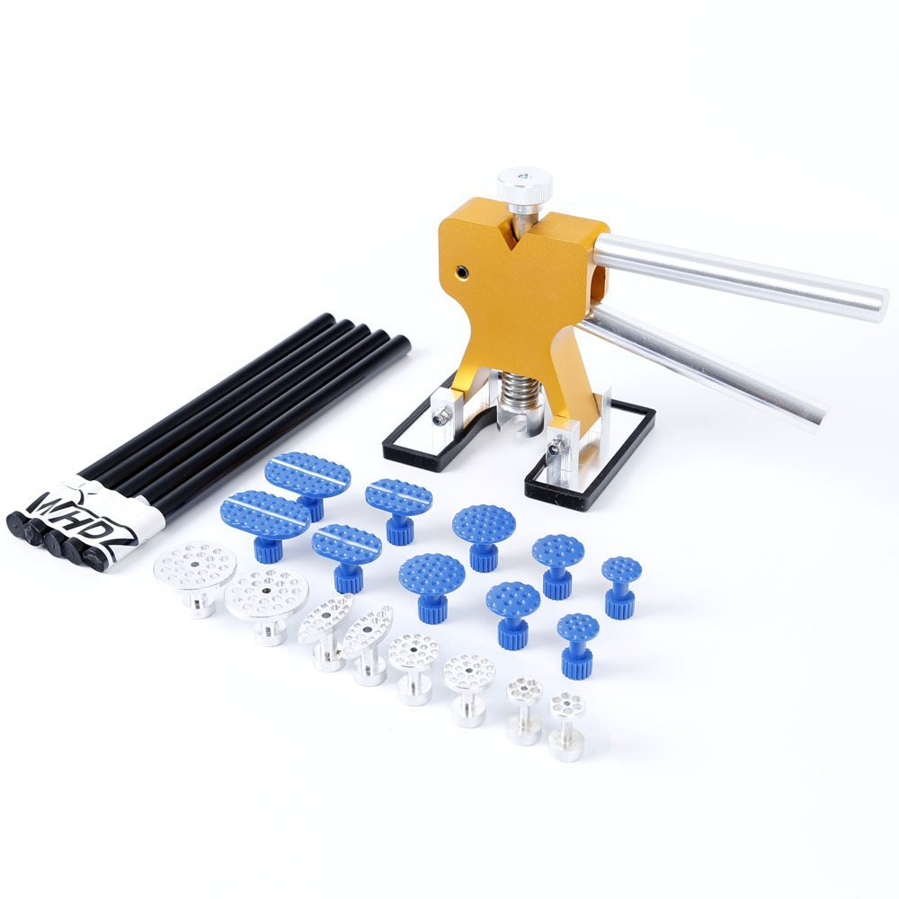 Dent Lifter PDR Hail Repair Tool with 18pcs Puller Glue Tabs Paintless Dent Repair Glue Puller Hand Lifter PDR Tool free shipping paintless dent repair dent lifter glue puller kit pdr glue pulling for hail