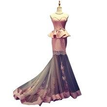 Rosa Spitze Prom Kleider Lange 2017 Schatz-wulstige Stein Kleid Bodenlangen Elegante Schatz Abendkleider 12131341